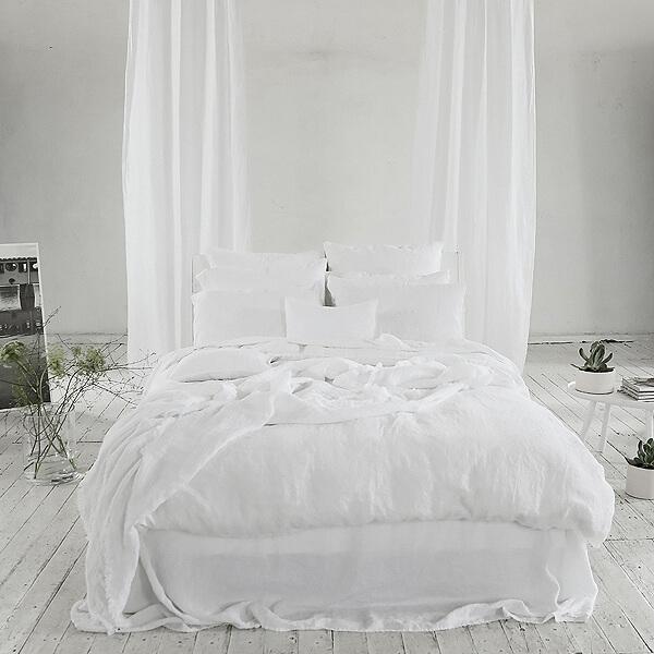 Alpinweißer Leinen Bettwäsche