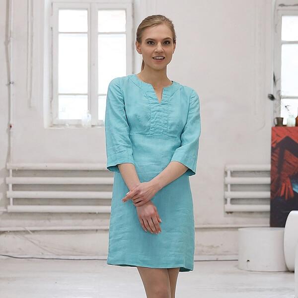 Aqua Leinen Kleid Fausta - LinenMe
