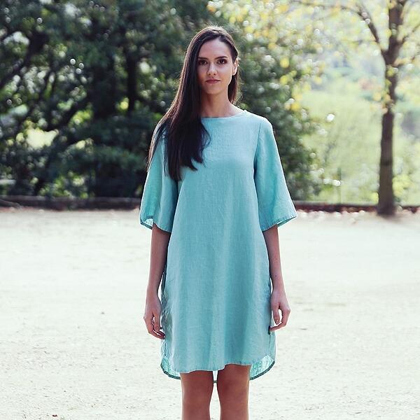 Blaugrün Leinen Kleid Luisa