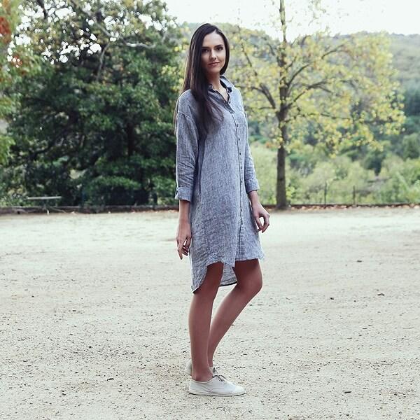 Silver Melange Hemd Kleid Leinen Paula - LinenMe