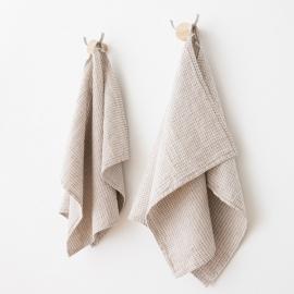 Set mit 2 Hand und Gästetüchern Natur Leinen Baumwolle Waffel