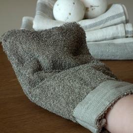 Handschuh Natur Leinen Frottee