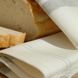 Set 2 Küchentücher Weiss Grau Uno Leinen Baumwolle