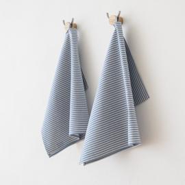 Set 2 Küchentücher Blau Leinen Baumwolle Jazz