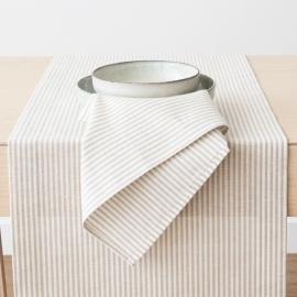 Tischläufer Beige Gestreift Leinen Baumwolle Jazz
