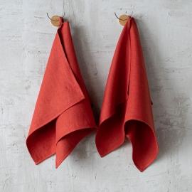 Orange Gerstenkornleinen-Badetücher Lara