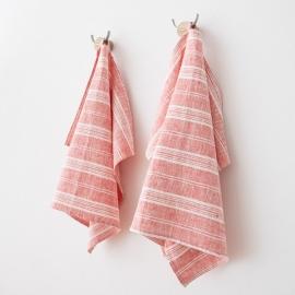 Rot/Weiße Leinen-Handtücher und Gästehandtücher Multistripe