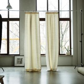 Lara Leinenvorhang mit Faltenband Creme