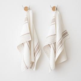 Set 2 Weiß Grau Leinen Handtücher und Gästehandtücher Tuscany