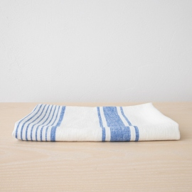 Weiß Blau Leinen Badetuch Tuscany