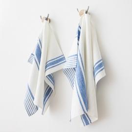 Set 2 Weiß Blau Leinen Handtücher und Gästehandtücher Tuscany
