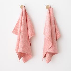 Set mit 2 Roten Leinen-Handtüchern und Gästehandtüchern Francesca