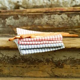 Set mit 2 Gestreiften Leinen-Geschirrtüchern in weiss rot gingham