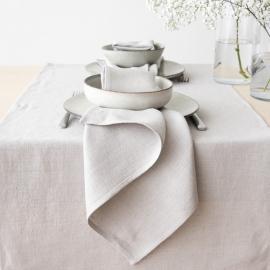 Stonewashed Silber Leinen Tischläufer
