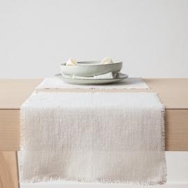Tischset aus Weißem Leinen Rustikal