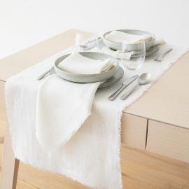 Tischläufer Milchweiß Leinen Rustic