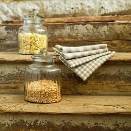 Set aus 2 Natur Creme Leinen-Geschirrtüchern