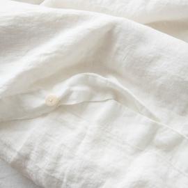 Off White Leinen Bettbezug Stone Washed