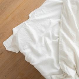 Vorgewaschenes weißgraues Leinen-Bettlaken