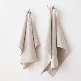 Set 2 Birch Leinen Handtücher und Gästehandtücher Francesca