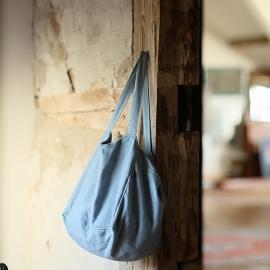 Strandtasche Seeblau Leinen Lara