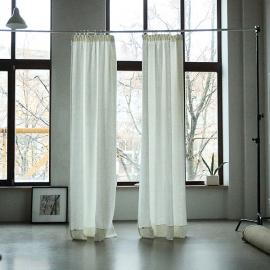 Lara Leinenvorhang mit Faltenband Weißgraues