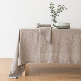 Stonewashed Taupe Leinen Tischläufer