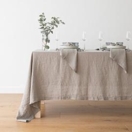 Stonewashed Taupe Leinen Tischdecke