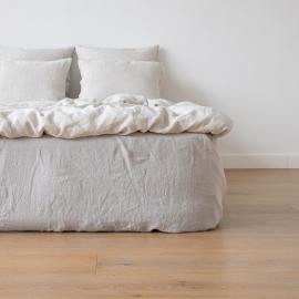 Stonewashed-bettlaken Mit Gummizug Aus 100 % Leinen In Silber