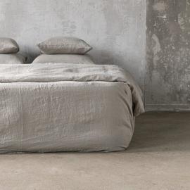 Stonewashed-bettlaken Mit Gummizug Aus 100 % Leinen In Taupe