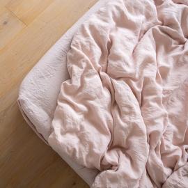 Rosa Bettlaken Mit Gummizug Aus Leinen Stone Washed