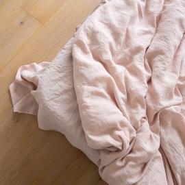 Vorgewaschenes Rosa Leinen-Bettlaken