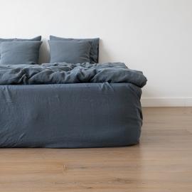 Stonewashed-bettlaken Mit Gummizug Aus 100 % Leinen In Blau