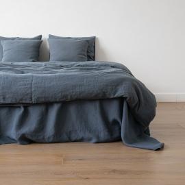 Vorgewaschenes Blau Leinen-Bettlaken