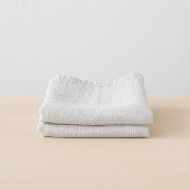 Set mit 2 Silber Leinen Handtüchern Wafer
