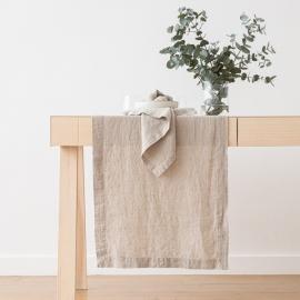 Stonewashed Natural Leinen Tischläufer