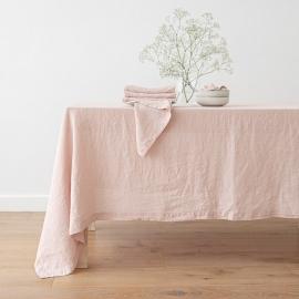 Rosa Leinen Tischdecke Stone washed