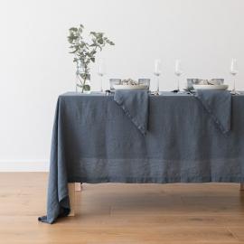 Stonewashed Blau Leinen Tischdecke