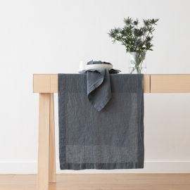 Stonewashed Blue Leinen Tischläufer