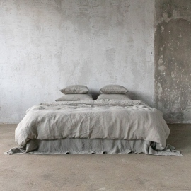 Taupe Leinen Stoff Muster Stone Washed