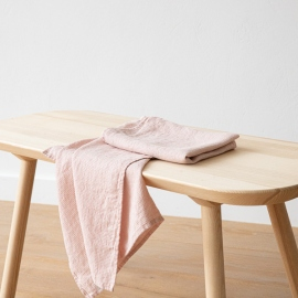 Set mit 2 Rosa Leinen Handtüchern Wafer