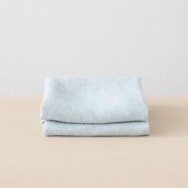 Set mit 2 Eisblau Leinen Handtüchern Wafer
