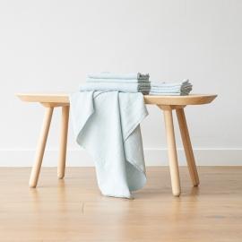 Set mit 4 Eisblau Leinen Handtüchern Wafer