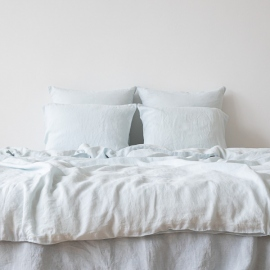 Ice Blue Washed Bed Linen Duvet