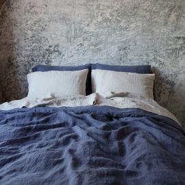 Blaubeere Leinen Stoff Muster Stone Washed