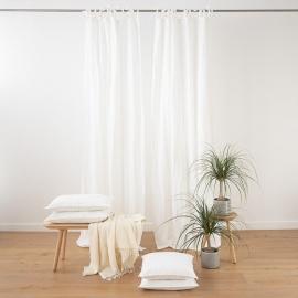 Optisches Weiss Leinenvorhang mit Schlaufen Stone Washed