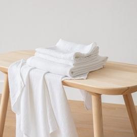 Optischen Weiß  Leinen Badetuch Wafer und Handtücher Washed