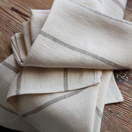 Set mit 2 Nature Leinen-Handtücher und Gästehandtücher Brittany Large