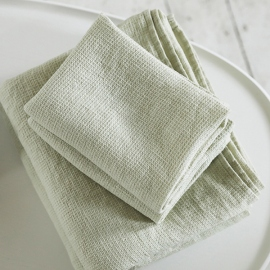 Aloe Grun Leinen Badetuch Wafer und Handtücher Washed