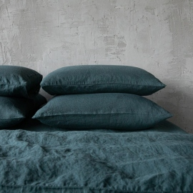 Balsam Grün Leinen Kissenbezüge Stone Washed